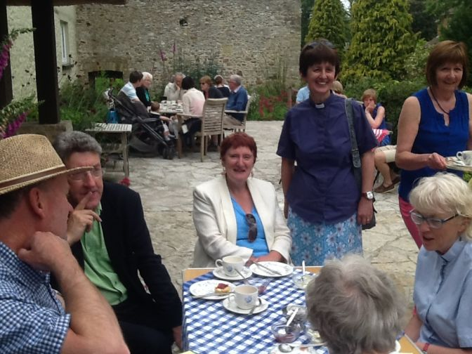Hilary relaxing with some of the team at Musbury Barton cream tea